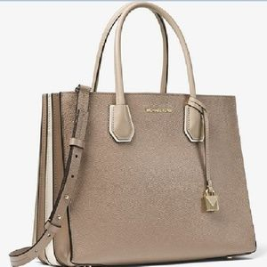 Mercer Large Pebbled Leather Tote Bag Truffle
